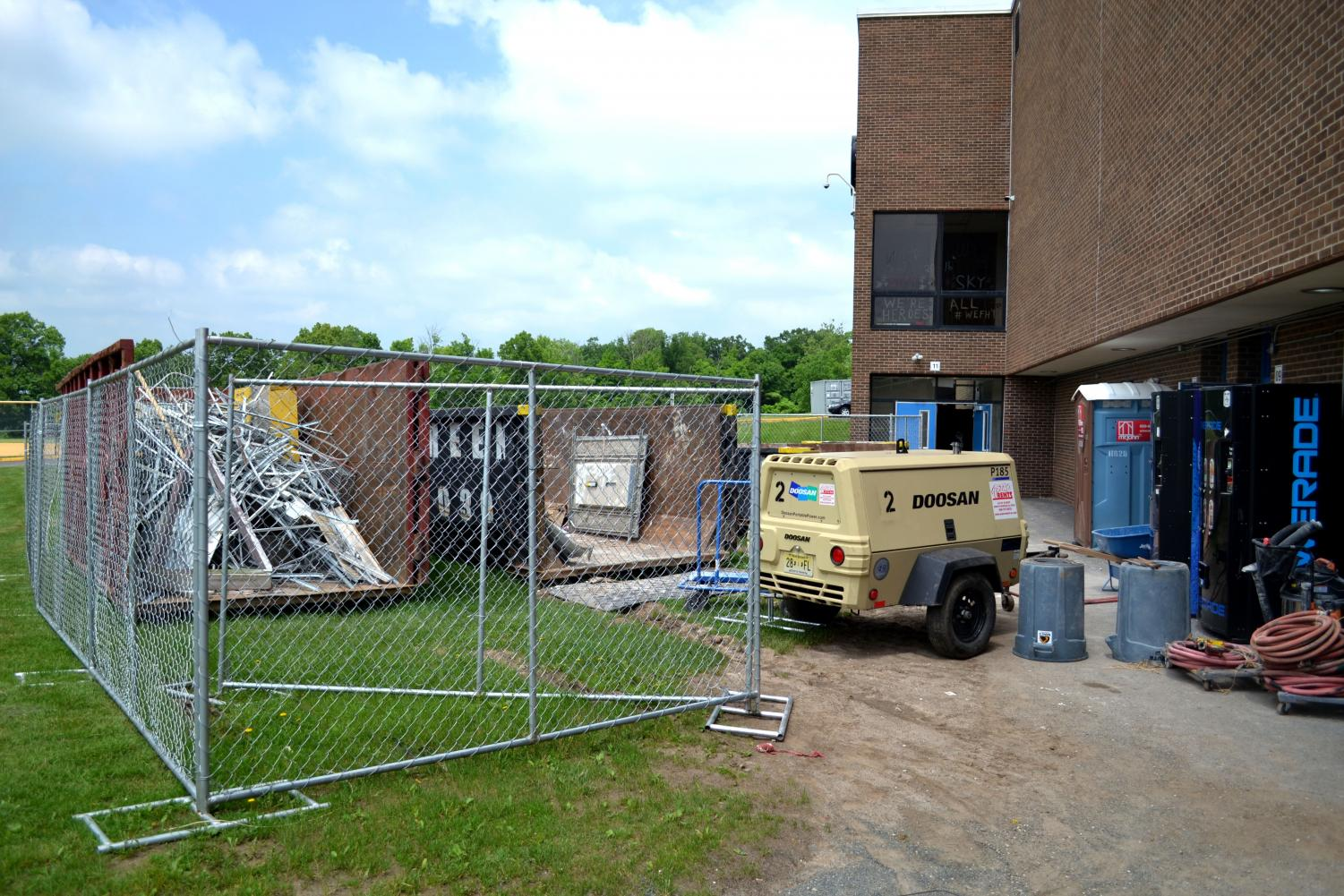 The locker rooms at the middle school, nearly 50 years after their construction, are in the process of being rebuilt from the bottom up.