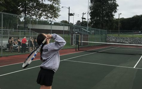 Spritzer shows her skill as only freshman on Girls JV Tennis