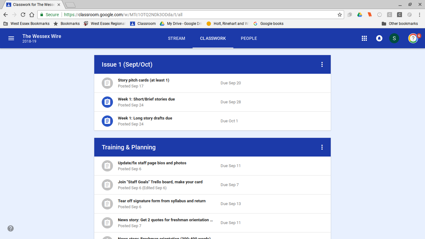 A look at the updated Classwork section to Google Classroom.