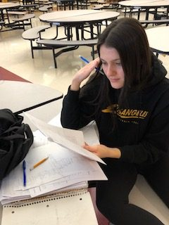 Junior Mia Servidio looks stressed out as she crams for midterms.