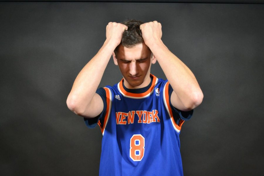 Garrett, a huge Knicks fan, shows his anger as his favorite team has been struggling for the past several years. Photo By Lara Del Vecchio