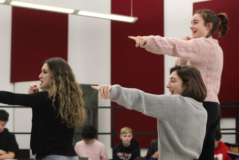 "Various members of the cast of Masquers of West Essex practice for the spring musical, ""Mamma Mia."" The show runs March 12-14."