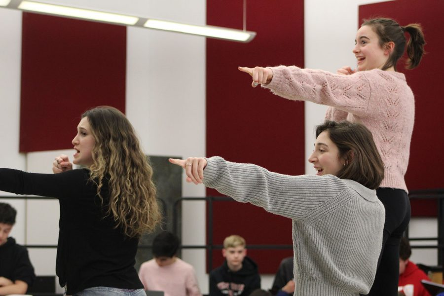 Various members of the cast of Masquers of West Essex practice for the spring musical,