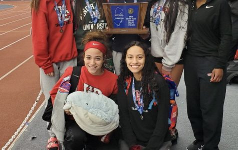 (Photo courtesy of Lanaya Torres) The West Essex Girls track team celebrates after their North II Group II title win on Feb. 14. Winter track and field has had a storybook 2019-2020 season despite the challenges the winter season brings.