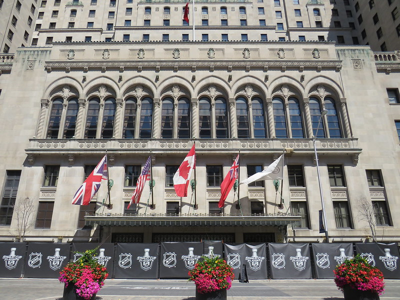 The entrance to the Royal York Hotel in Toronto is decorated with Stanley Cup playoff signage in August. This hotel was one of two locations NHL players used for their