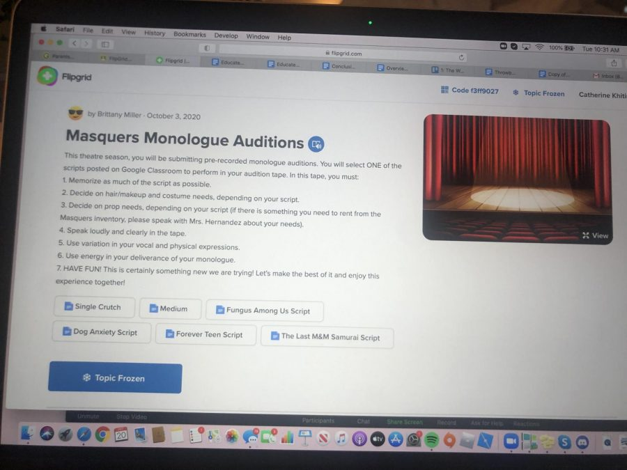 Masquers of West Essex broke new ground online this year by holding auditions via online recorded video on FlipGrid.