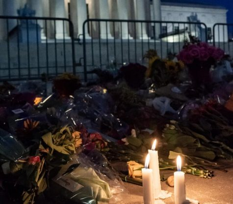 A candlelight memorial to Supreme Court Justice Ruth Bader Ginsburg rests outside the Supreme Court of the United States in Washington, D.C. Many mainstream memorials and well-wishes to RBG inadvertently overlook the central Jewish faith that Gingsburg held so dear.