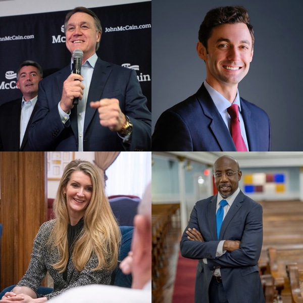 (Clockwise from top left) Georgia Senate candidates David Purdue (R), Jon Ossoff (D), the Rev. Dr. Raphael Warnock (D) and Kelly Loeffler (R) are in the middle of a heated pair of Senate race runoffs for Jan. 5.