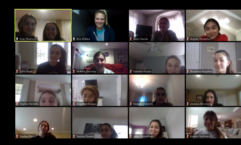 The girls volleyball team uses Zoom meetings to keep spirits up during their preseason.